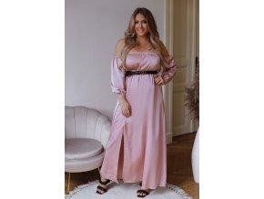 Dlhé elegantné šaty so saténovým efektom a opaskom - ružová