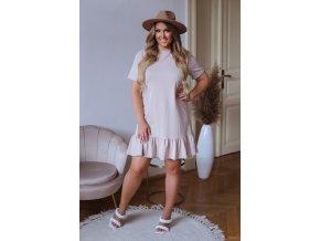 Bavlnené šaty s krátkym rukávom a volánikom na sukni - béžová
