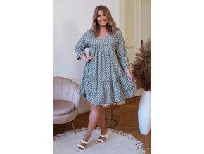 Voľné bavlnené šaty s geometrickým vzorom - zelená