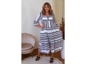 Voľné vzorované šaty s výstrihom do V - čierno-biela
