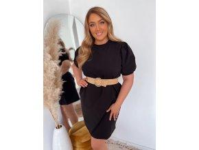 Krátke bavlnené šaty s puffovými rukávmi - čierna
