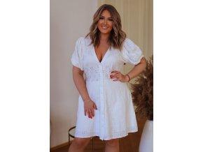 Biele čipkované šaty s krátkym rukávom
