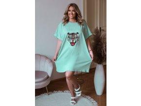 Oversize tričkové šaty s potlačou tigra - zelená