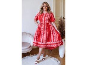 Bavlnené šaty s krátkym rukávom a vzorom - červená