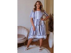 Bavlnené šaty s krátkym rukávom a vzorom - biela