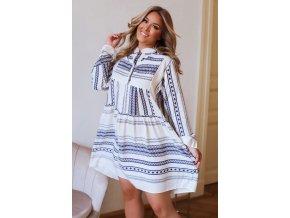 Krátke košeľové šaty s dlhým rukávom - modrá