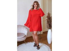 Voľné minišaty s dlhým rukávom v červenej farbe