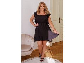 Krátke šaty s viazaním na chrbte - čierna
