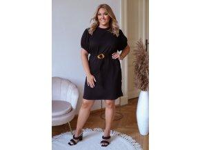 Krátke tričkové šaty s puffovými rukávmi a opaskom - čierna