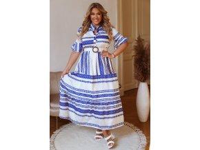 Dlhé bielo-modré vzorované šaty s opaskom