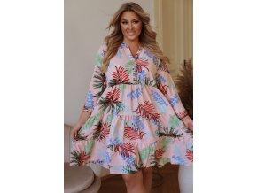 Krátke svetlo ružové šaty s tropickým vzorom