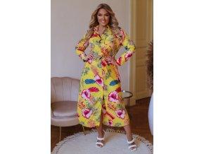 Kvetinové košeľové maxi šaty - žltá