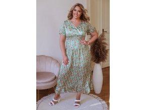 Dlhé kvetinové šaty s krátkym rukávom - zelená