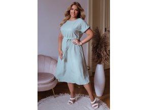 Mentolové šaty s opaskom v midi dĺžke