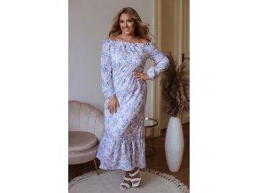 Béžovo-modré kvetinové šaty s dlhým rukávom