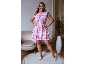 Krátke bielo ružové vzorované šaty