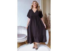 Voľné čierne šaty s krátkym rukávom