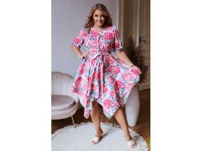 Asymetrické šaty so vzorom hortenzií - ružová
