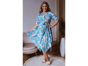 Asymetrické šaty so vzorom hortenzií - tyrkysová