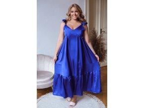 Modré šaty na ramienka so saténovým efektom
