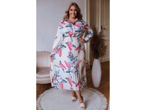 Dlhé kvetinové šaty s plisovanou sukňou v krémovej farbe