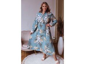 Dlhé kvetinové šaty s plisovanou sukňou v modro zelenej