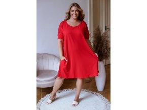 Červené oversize šaty s prekrížením na chrbte