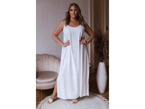 Dlhé šaty na ramienka s rázporkami na bokoch - biela