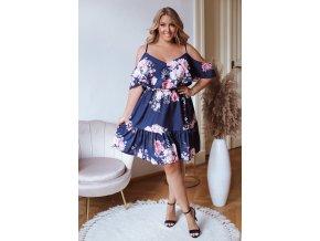 Krátke kvetinové šaty s odhalenými ramenami - tmavo modrá