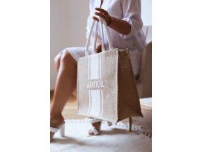 Ľanová taška do ruky AMOUR - biela