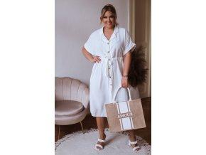 Košeľové šaty s krátkym rukávom v bielej