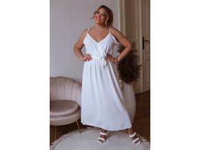 Dlhé šaty na ramienka s opaskom v bielej