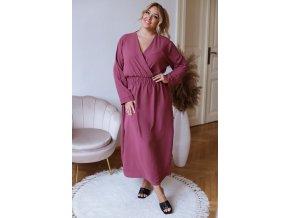 Dlhé šaty s dlhým rukávom - gaštanová
