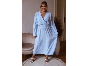 Dlhé šaty s dlhým rukávom - svetlo modrá
