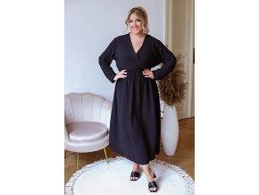 Dlhé šaty s dlhým rukávom - čierna