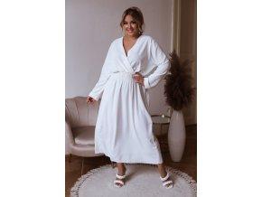 Dlhé šaty s dlhým rukávom - biela
