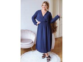 Dlhé šaty s dlhým rukávom - tmavo modrá
