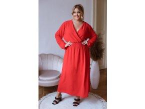 Dlhé šaty s dlhým rukávom - červená