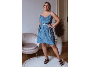 Krátke modro-čierne šaty na ramienka s riasením