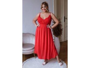 Dlhé šaty na ramienka s čipkovaným vrchom - červená