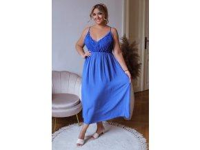 Dlhé šaty na ramienka s čipkovaným vrchom - kráľovská modrá