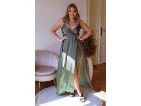 Dlhé šaty na ramienka s efektom saténu - khaki zelená