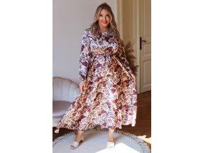 Dlhé šaty s dlhým rukávom a kvetinovým vzorom - telovo ružová