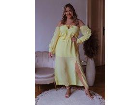 Dlhé šaty s odhalenými ramenami a rázporkom - žltá