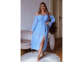 Dlhé šaty s odhalenými ramenami a rázporkom - modrá