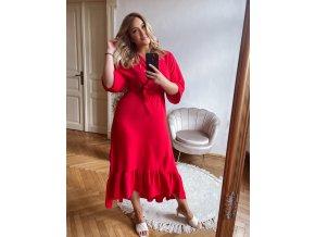 Červené šaty v midi dĺžke