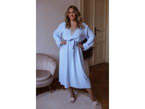 Dlhé šaty s opaskom a dlhým rukávom - svetlo modrá