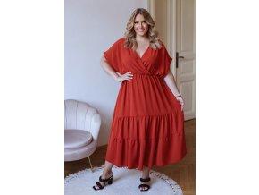 Dlhé voľné šaty s krátkym rukávom v tehlovej farbe