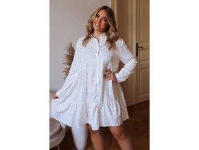 Krátke košeľové šaty s dlhým rukávom a zlatým vzorom - biela