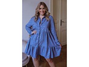Krátke košeľové šaty s dlhým rukávom a zlatým vzorom - modrá